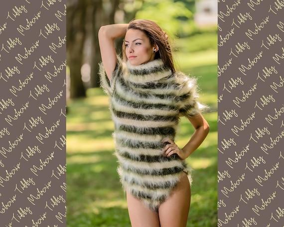 Fluffy Mohair Bodysuit, Hand Knit Bodysuit, Fetish Bodysuit, Men Mohair Romper, Short Sleeve Bodysuit, Fetish Underwear, Fuzzy Catsuit T336