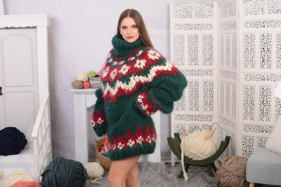 10 strands Nordic Mohair Sweater, Hand Knitted Chunky sweater, Huge Icelandic Pullover, Super thick mohair pullover T732W