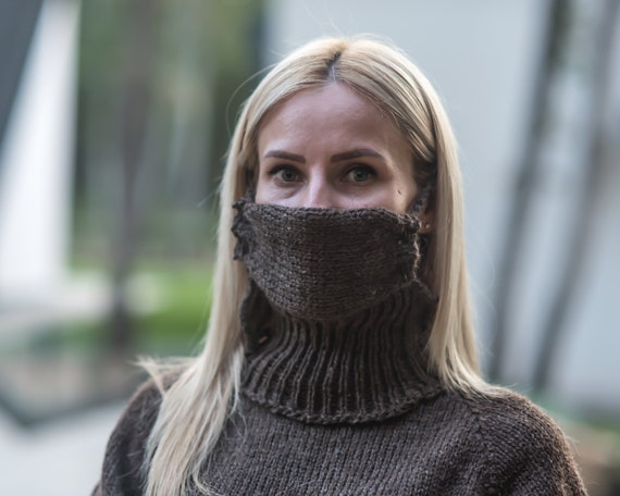 Knitted Brown wool mask  ,  face mask made in 100 % wool