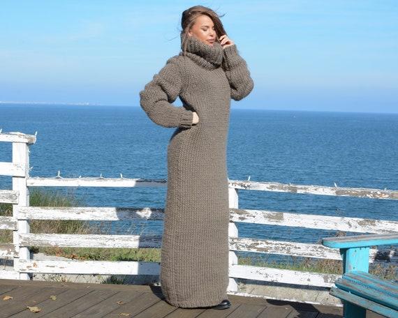 Beige wool Dress, Knit Sweater Dress, Turtleneck Maxi Dress, Chunky Woolen Dress, Long Fetish Dress, Winter Dress , Knitted Dress T666
