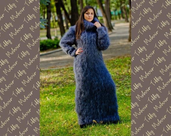Gray Mohair Dress, Turtleneck Maxi Dress, Hand Knit Sweater Dress, T neck Hoody Dress, Chunky Mohair Dress, Fetish Dress, Winter Dress T174