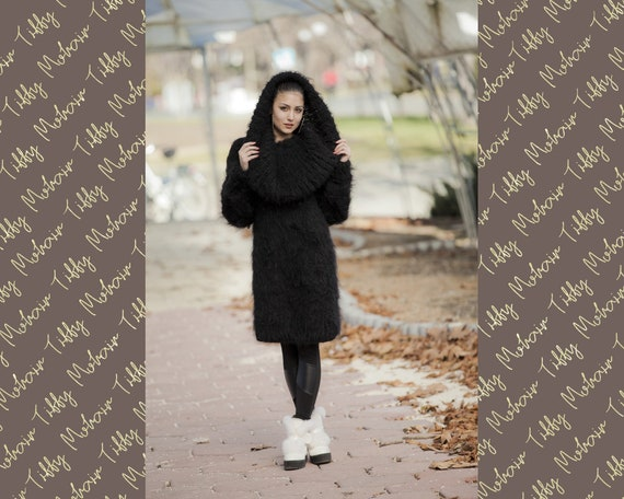 Black Mohair Dress, Cowl Neck Sweater, Knit Dress, Fluffy Pullover, Fluffy Mohair dress, Winter Dress, Oversized Dress, Fetish Dress T12