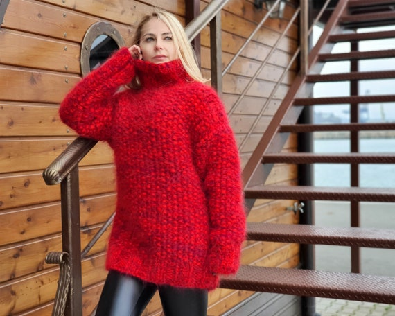 Moss stitch chunky mohair sweater, 8 strands Thick mohair sweater, Cosy hairy jumper T948