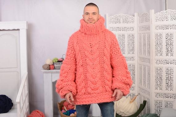 Fine Merino Cables sweater, Corail Sexy Sweater, Cable KNit sweater, Hand Knit Sweater, Ovesrized Sweater, Couple Sweater T738M