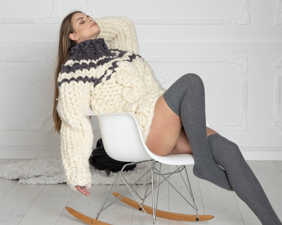 Thick KNIT SWEATER, Cables bulky sweater, Woman Giant knit sweater, Women Wool Sweater, super chunky sweater, Merino chunky sweater T621W