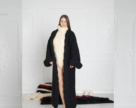 Black 100%  Wool Cardigan, Long Cradigan, Oversized Cardigan, Knit Jacket, Wool Coat, Hand Knit Cardigan, Maxi Coat, Chunky Cardigan T637W