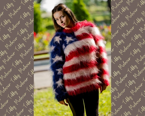 American Flag Sweater, Fluffy Mohair Sweater, Mohair Pullover, Hand Knit Sweater, Crewneck Sweater, Soft WInter Sweater, Chunky Sweater T110