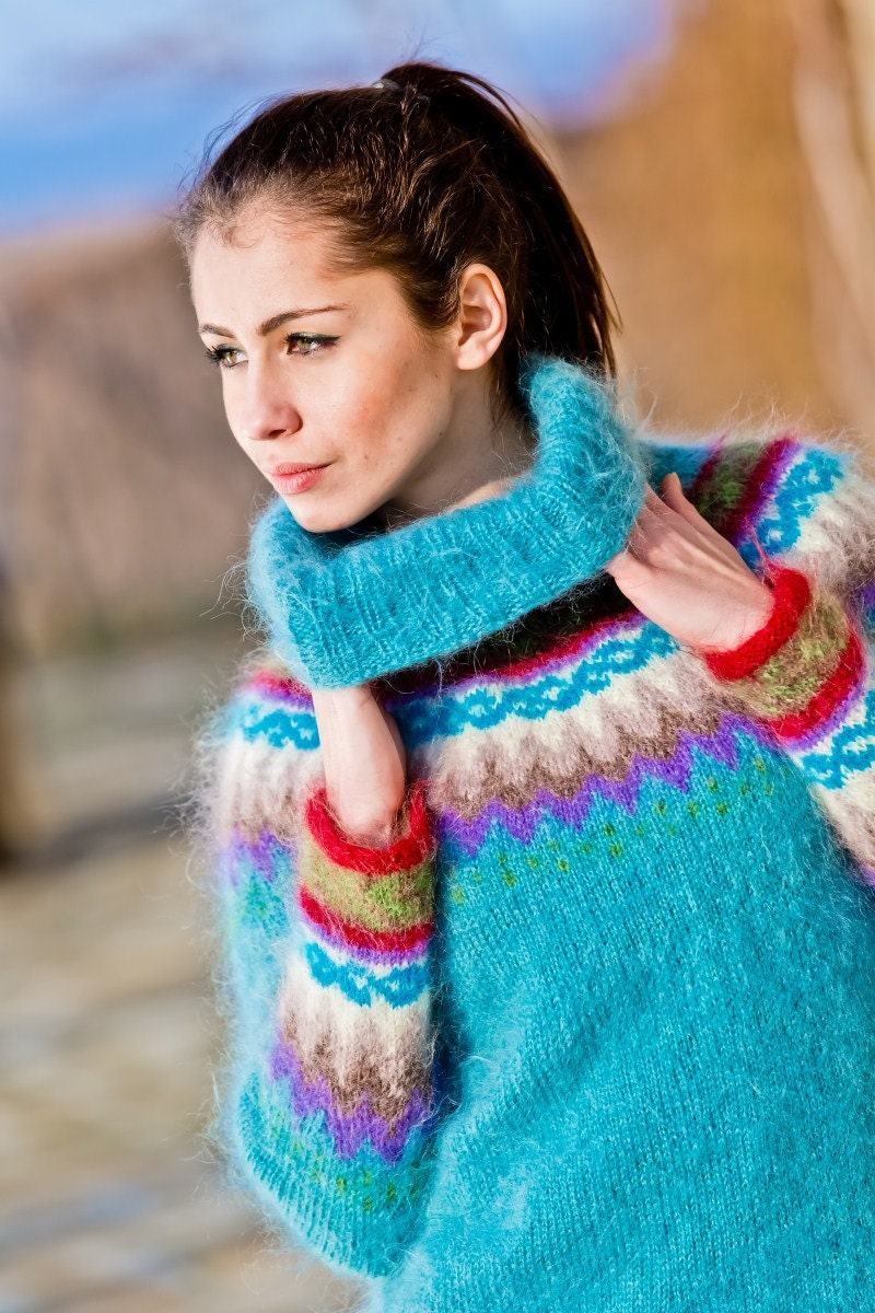 40bad6656c1 Nordic Sweater, Mohair Sweater Dress, Icelandic Sweater, Chunky Turtleneck,  Bulky Top, Hand Knit Jumper, Fair isle Pullover T242