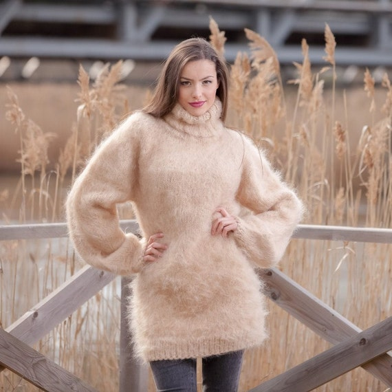 Camel mohair sweater, beige sweater, loose knit sweater, Fluffy sweater, sexy sweater, soft sweater, boho sweater, brown sweater T443