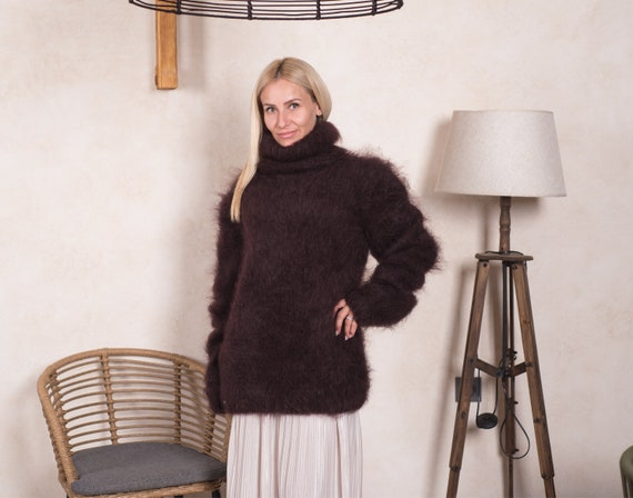 Ready to ship sweater in size 3XL , Brown Mohair sweater , Fluffy mohair jumper T830