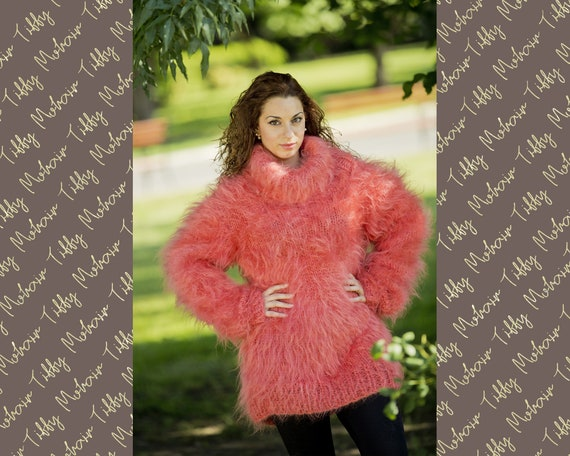 Mohair Sweater, Coral Mohair sweater, Turtleneck sweater, Wool sweater, pullover, Handknit sweater, Knitted sweater, 100% hand made T83
