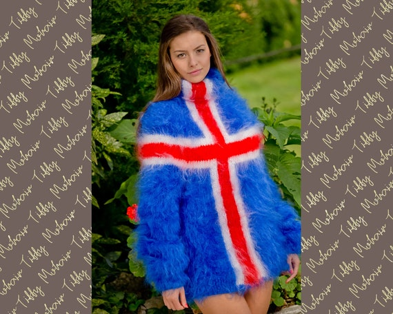 Icelandic Flag sweater, Hand Knit Mohair sweater, Men Mohair Sweater, Fluffy Fuzzy Sweater, Blue Mohair Sweater, Soft T neck pullover  T118