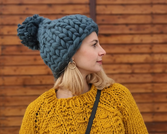 Ready to ship Grey Merino Hat, Wool Beanie, Warm winter hat, Merino wool beanie, Super Chunky Hat, Knitted Hat T946