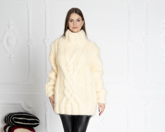 6 strands Cream Mohair Sweater, Cables Sweater, Hand Knit Sweater, Oversized Sweater, Chunky Sweater, Men sweater T643W
