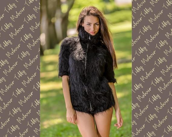 Black Mohair Bodysuit, Hand Knit Bodysuit, WInter Fluffy Bodysuit, Zipper Cardigan, Chunky Fetish Bodysuit, Soft Romper, Mohair Catsuit T344