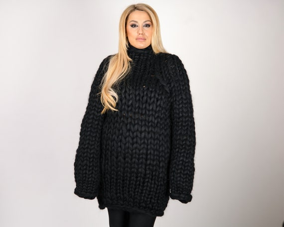 Black Merino Wool Sweater , Huge Super Chunky Knit Woolen Pullover, Marshmallow sweater, Giant knit sweater T1073