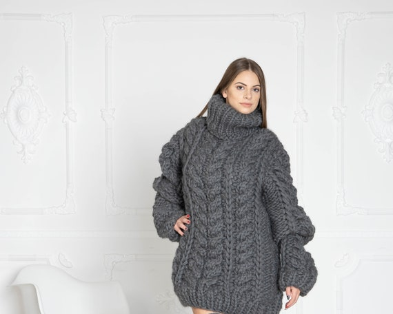 5 Strands Gray Cables Wool Sweater, Chunky Knit Woolen Pullover, Cable Knit Sweater, Woolen huge Sweater T635W