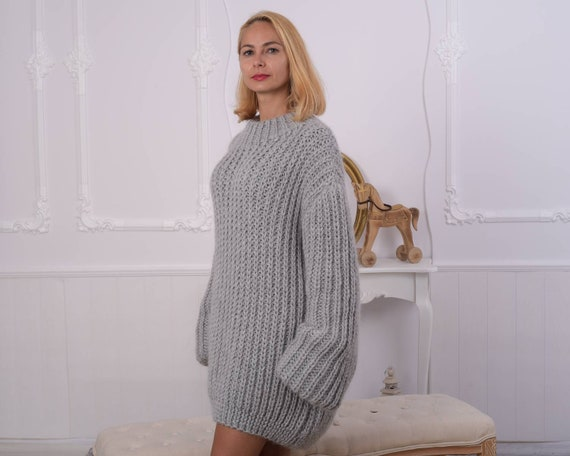 Ready to Ship 100 % Alpaca English rib sweater in size 7xl ,  2 kilograms Crewneck sweater, Extremely chunky sweater , Handknit sweater T862