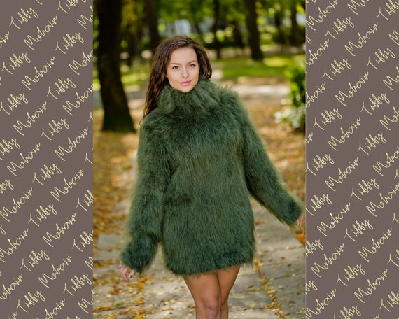 Fluffy Mohair Sweater, Green Hand knitted Jumper T169