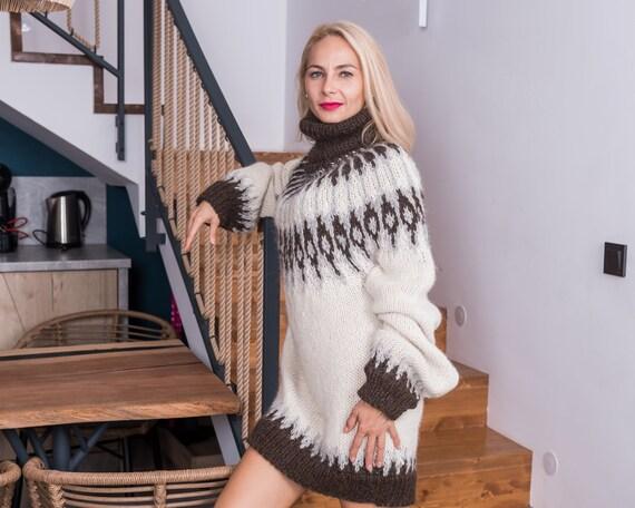 Ready to ship sweater in size 5XL, Lopapeysa alpaca women sweater, regular fit alpaca sweater. Cream pullover. icelandic sweater T863W