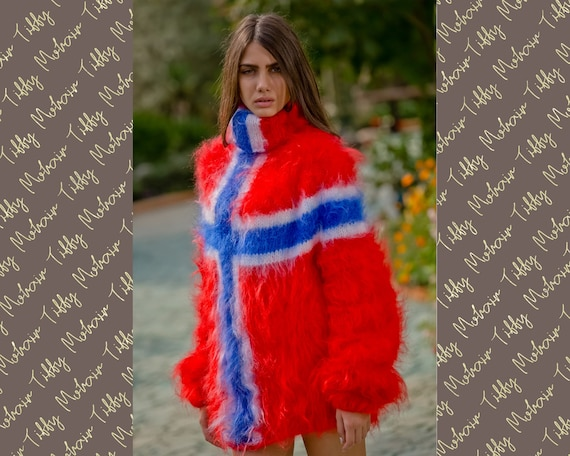 Norwegian Flag sweater, Hand Knit Mohair sweater, Men Mohair Sweater, Fluffy Fuzzy Sweater, Blue Mohair Sweater, Soft T- neck pullover  T116