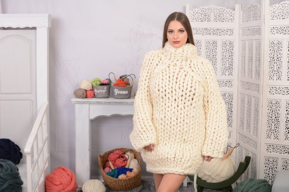 14 strands Chunky Knit Wool Sweater, Cream woolen Hand knit Pullover T707W