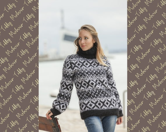 Black White T neck Icelandic Mohair sweater , Hand Knit  sweater , Turtleneck pull , Norwegian Sweater , Soft Sweater , Nordic Sweater T458