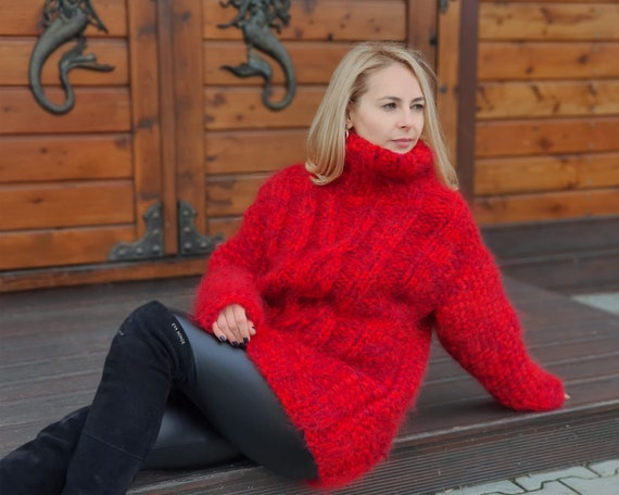 8 strands Red Melange Mohair Sweater, Cable knit Sweater, Hand Knitted Sweater, Fluffy Sweater, Huge Oversized Sweater T947