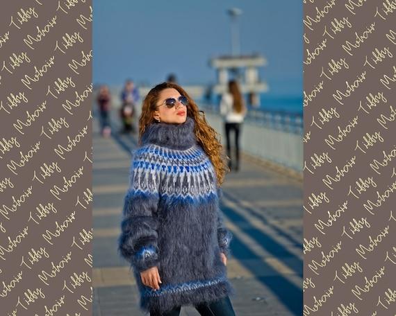 Gray Icelandic sweater, Fluffy Mohair Sweater, Hand Knit Sweater, Men Mohair Sweater, Norwegian Sweater, Soft Sweater, Nordic Sweater T190