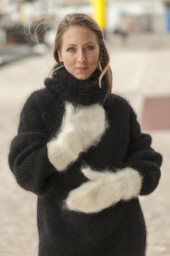 Ivory Mohair Mittens, Hand Knit Gloves, Mohair Fetish Mittens, Knitted Mittens, Fluffy Mittens, Handmade Mittens, Wool Winter Mittens T504