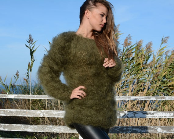 Mohair sweater, green sweater, loose knit sweater, see-through sweater, sexy sweater, soft sweater, boho sweater, fetish sweater T684W