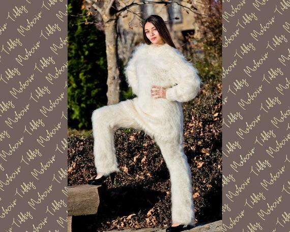 Soft Crewneck Mohair Sweater, Hand KNitted Men Mohair Jumper T232