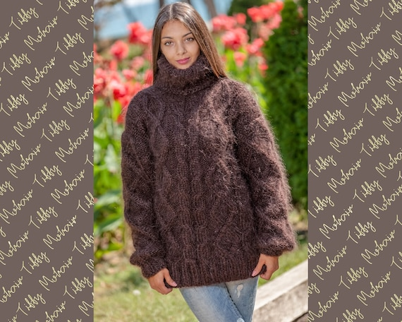 Brown Mohair Sweater, Cables Sweater, Hand Knit Sweater, Crewneck Jumper, Oversized Sweater, Mohair Fetish, Chunky Sweater, Men sweater T365