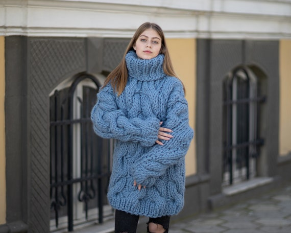 5 Strands Thick Blue Wool Sweater,Huge Chunky Knit Woolen Pullover T1027
