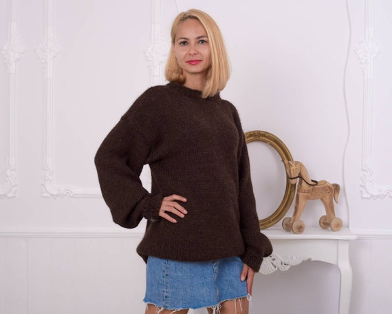 100 % Alpaca sweater , Super soft sweater , Crewneck sweater , Handknit sweater