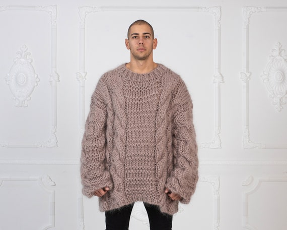 Ready to ship in size 9XL, Oversized Loose Knit Beige Mohair Sweater, Cables Sweater, Hand Knit Sweater, Chunky Sweater, Men sweater T992