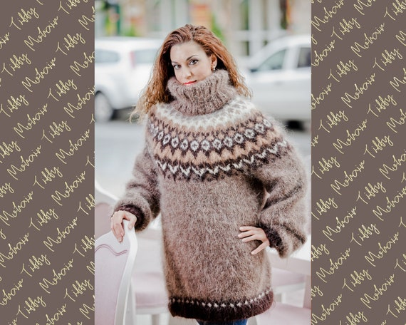 Mohair Sweater, Lopi Sweater, Icelandic Sweater, Hand Knit Sweater, Men Mohair Sweater, Norwegian Sweater, Nordic Sweater, Wool Sweater T68