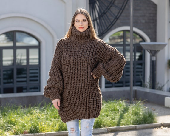 5 strands Brown  itchy wool sweater in English rib , Chunky and cosy winter jumper T1029