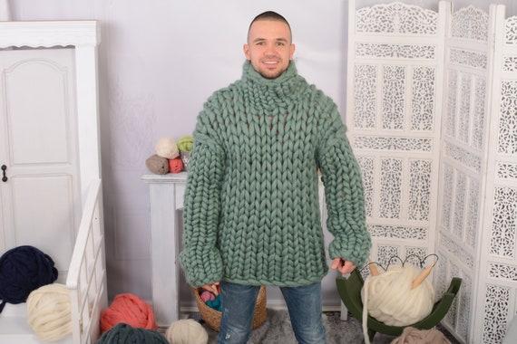 Oversize turtleneck sweater Thick knit sweater men Chunky wool sweater minimalist , Merino wool sweater T716M