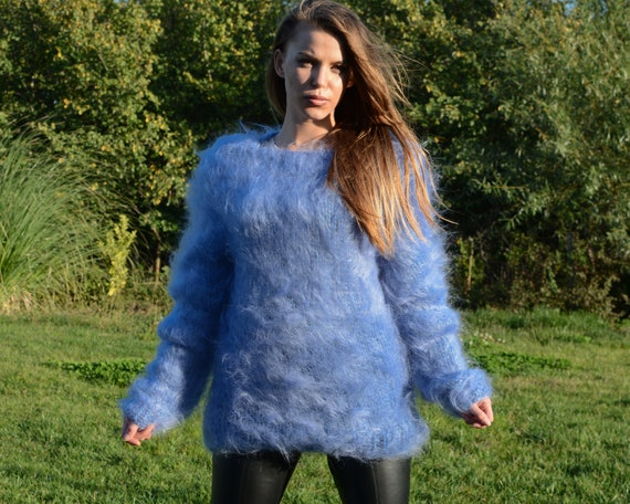 Blue Loose Knit Mohair Sweater, Summer sweater, boat neck top, See through sweater T680