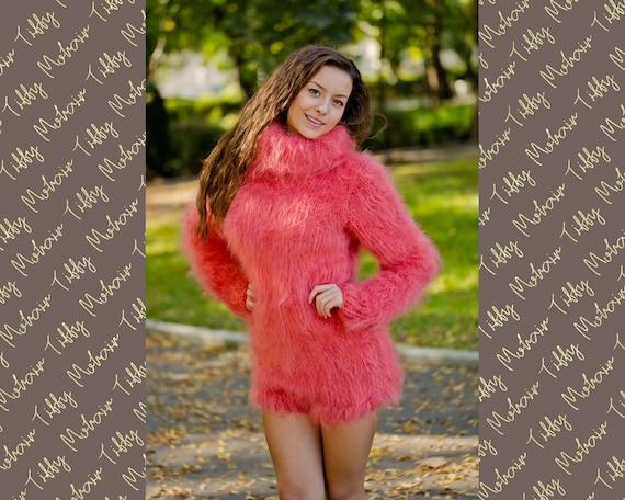 Coral Mohair Bodysuit, Hand Knit Mohair Sweater, Fetish Fluffy Bodysuit, Men Mohair Romper, Turtleneck Sweater, Fluffy Fetish Underwear T181