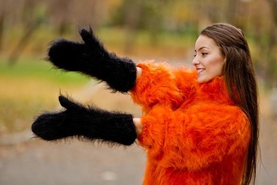 Black Mohair Mittens, Hand Knit Gloves, Mohair Fetish Mittens, Knitted Mittens, Fluffy  Mittens, Handmade Mittens, Wool Winter Mittens T191b