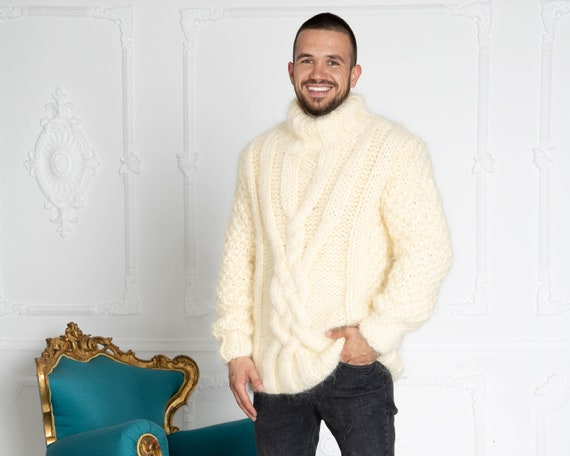 6 strands Men Mohair Sweater, Cables Sweater, Hand Knit Sweater, Oversized Sweater, Chunky Sweater, Men sweater T643M