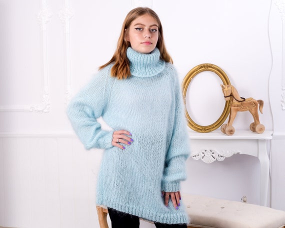 Fluffy Mohair sweater , Blue Big neelde Knit Mohair Sweater, See through sweater