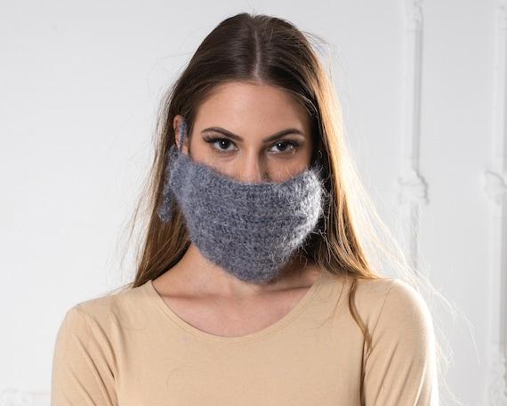Crochet Mohair  face mask cover , Face warmer Reusable knit mask , Fluffy face mask , Fuzzy mask T1018