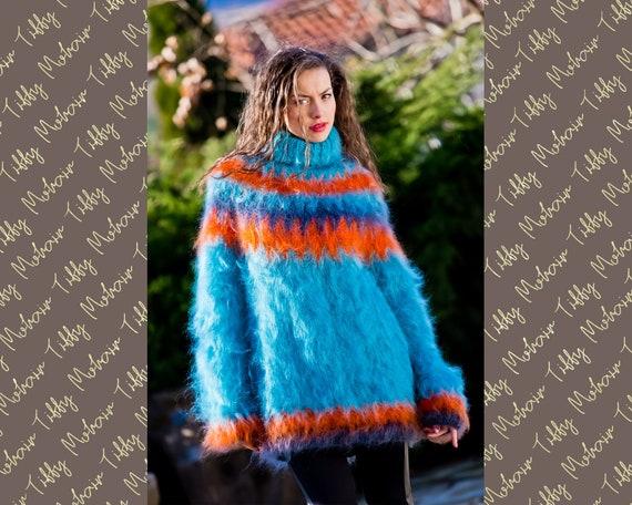 Blue Mohair Sweater, Icelandic Sweater, Hand Knitted Sweater, Men Mohair Sweater, Norwegian Sweater, Fair Isle Sweater, Nordic Sweater T220
