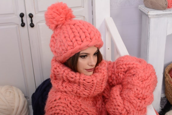 Ready to ship Merino Hat, Pom Pom Hat, Pink Hat, Kids Hat, Wool Beanie, Chunky Yarn, Gift for Her, Merino Wool, Thick Winter Beanie T727