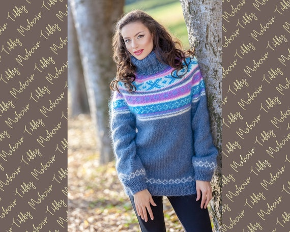 Ready to Ship Norwegian  Mohair Sweater in Size M T380