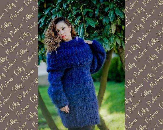 Blue Mohair Dress, Cowl Neck Sweater, Hand Knit Dress, Fluffy Pullover, Maxi Mohair dress, Winter Dress, Oversized Dress, Fetish Dress  T22