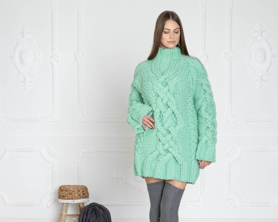 Cable knit sweater wool sweater mint sweater gift for her T626W